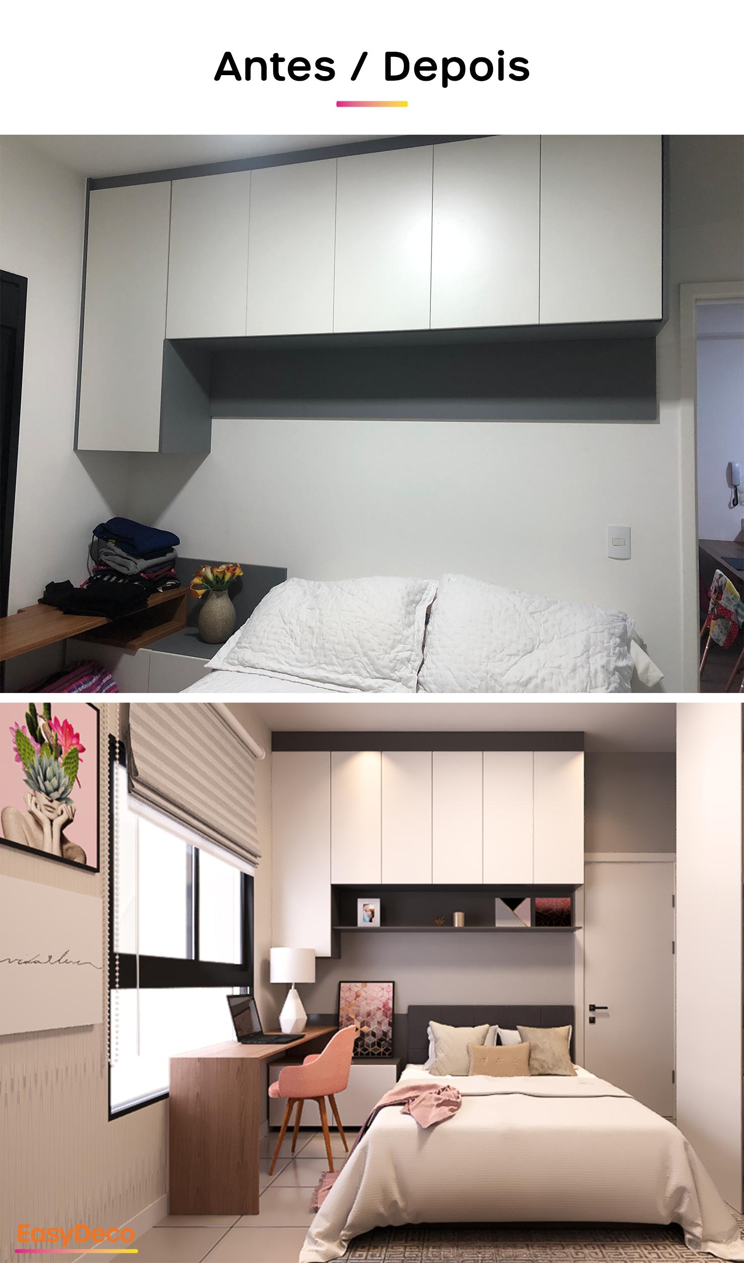 decoração de quarto moderno - antes e depois